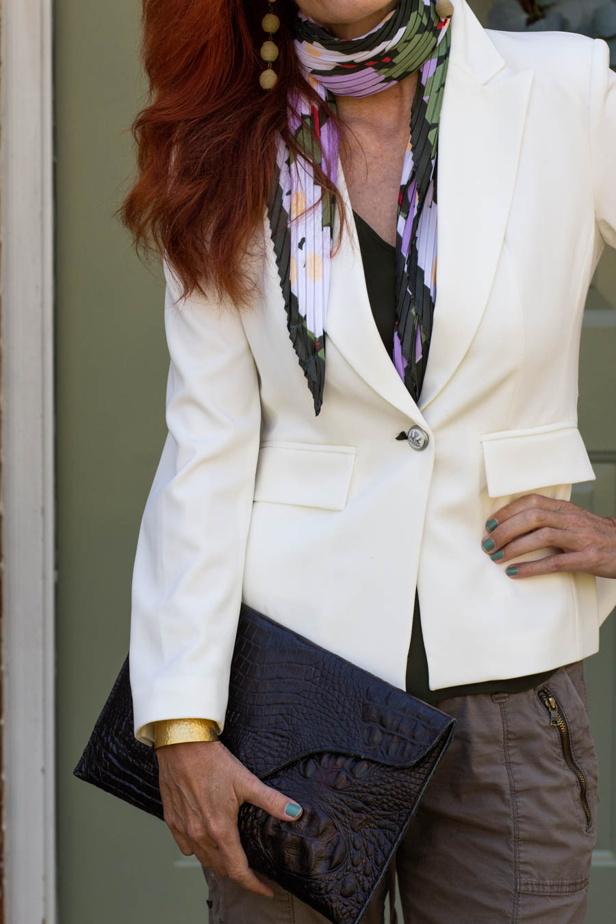 Off white blazer with floral scarf