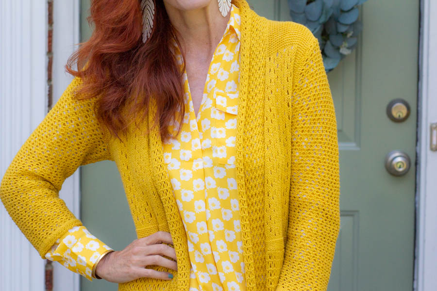 Yellow and white blouse with mustard yellow cardigan