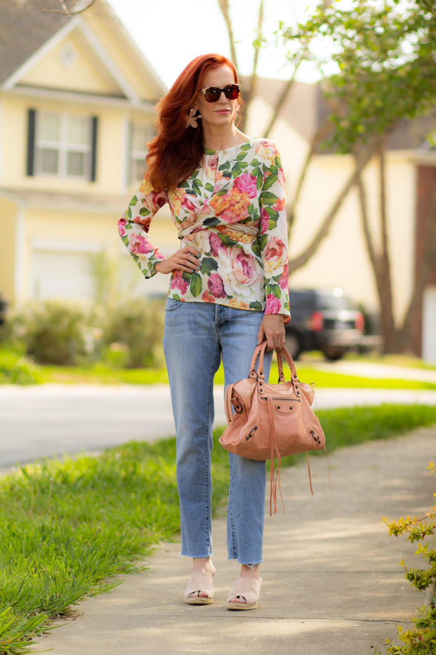 Bold floral top with light denim