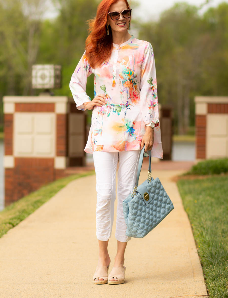 Caite and Kyla watercolor tunic with white leggings