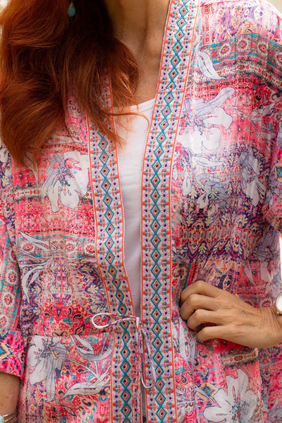 Caite and Kyla embroidered print kimono
