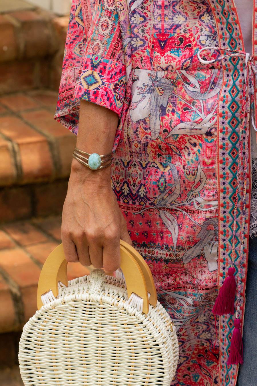 Kimono and straw bag