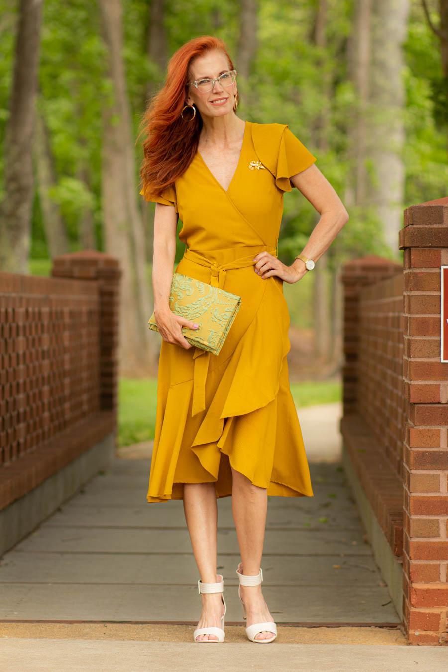 Coastal Clutch NY with mustard dress