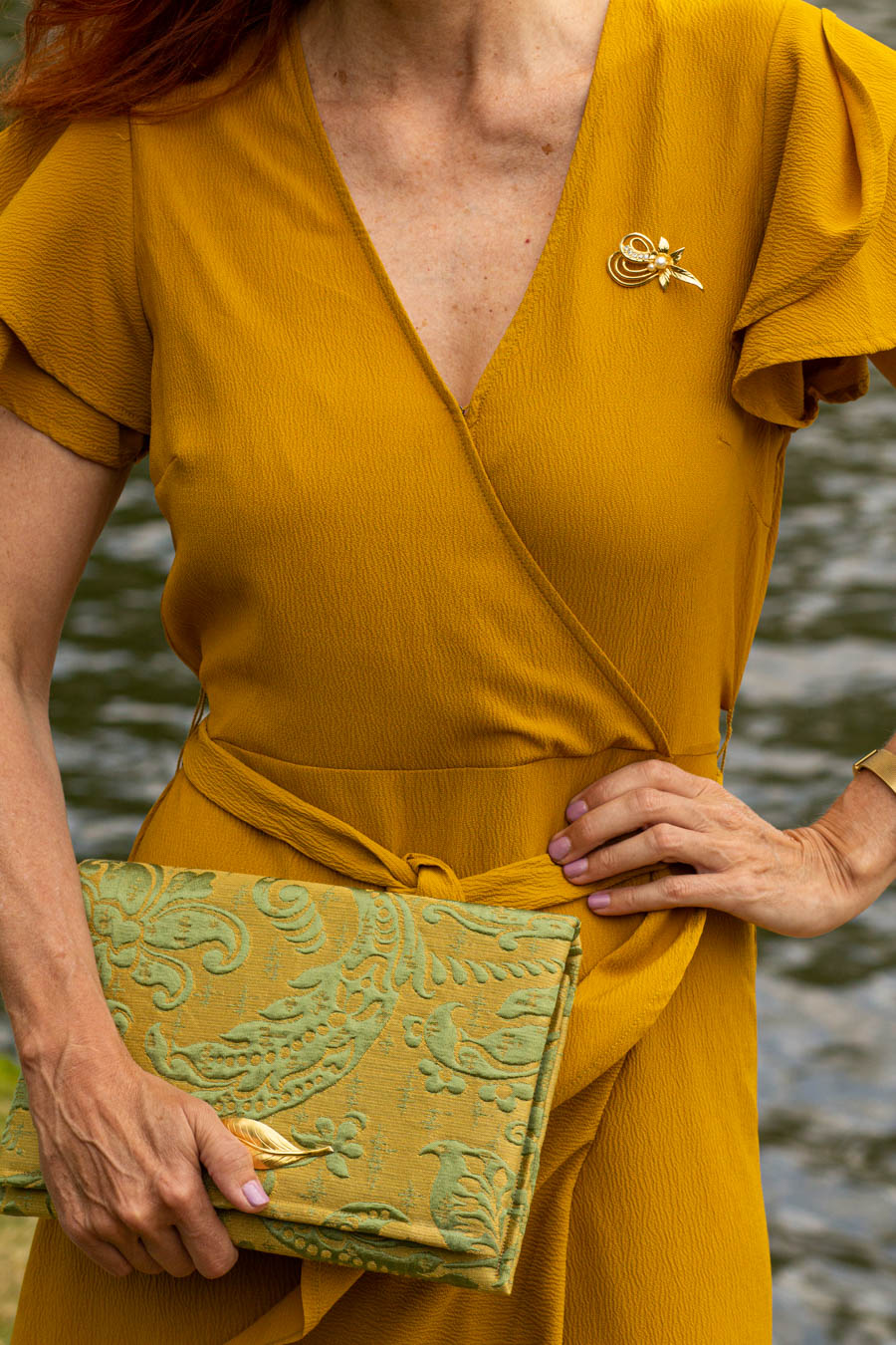 Mustard yellow dress with jacquard clutch