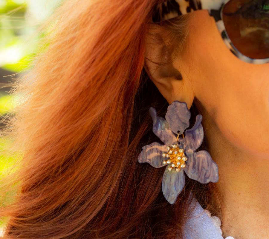 Blue large floral earrings