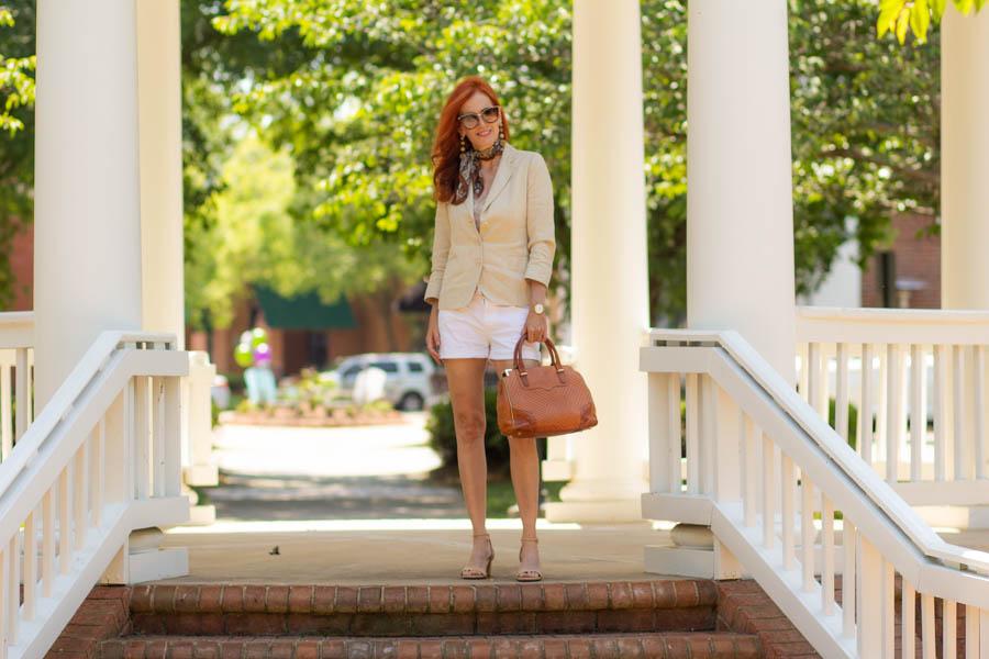 Linen blazer with shorts and Sarah Flint block sandals
