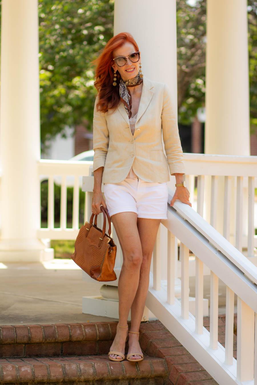 Linen blazer, shorts and Sarah Flint block sandals