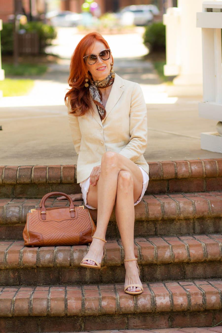Linen blazer, white shorts with Sarah Flint nude sandals