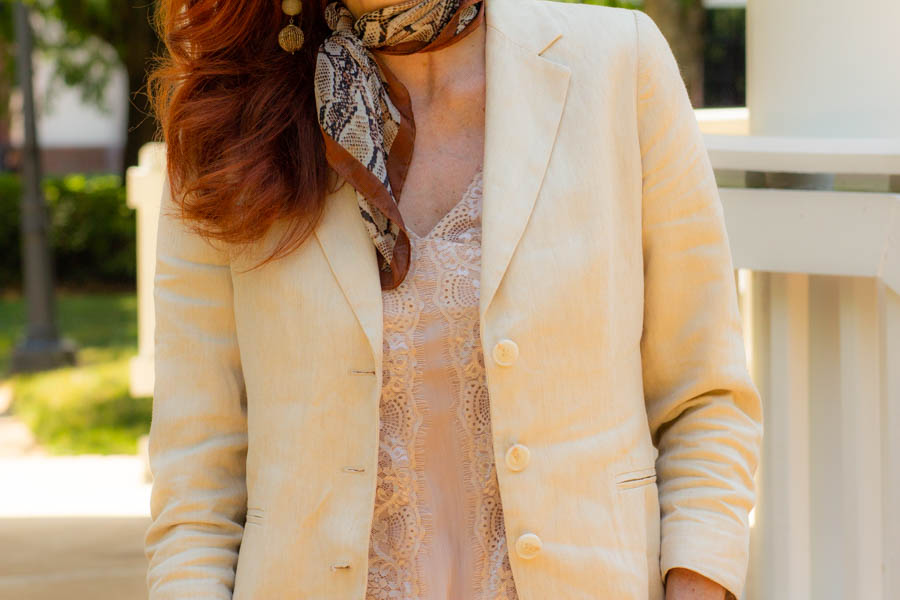 Silk scarf, linen blazer, and lace camisole