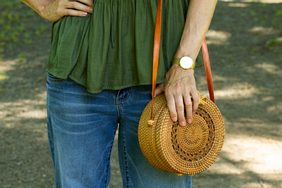 Green top and straw bag