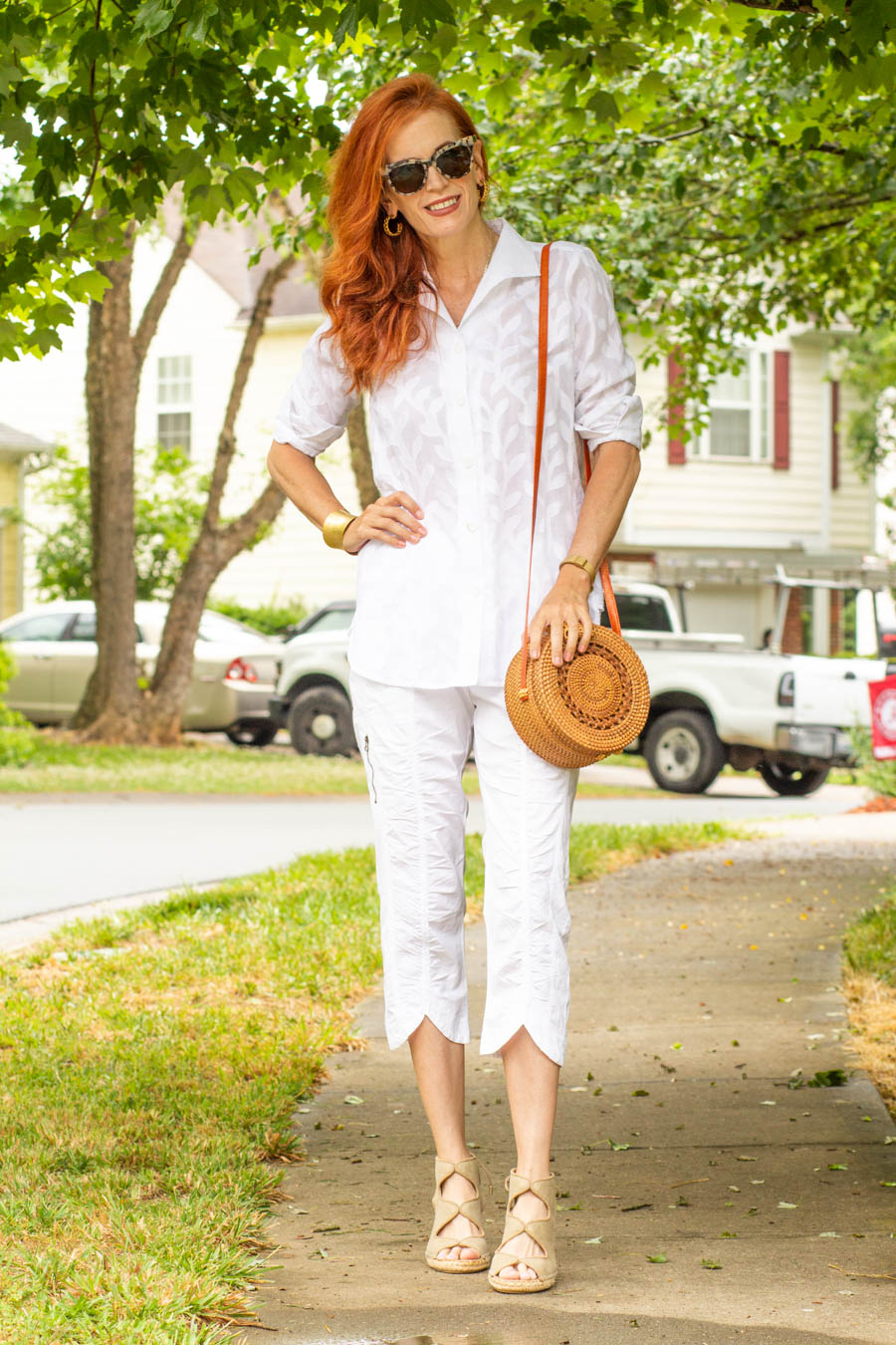 All white look with tunic and XCVI crops
