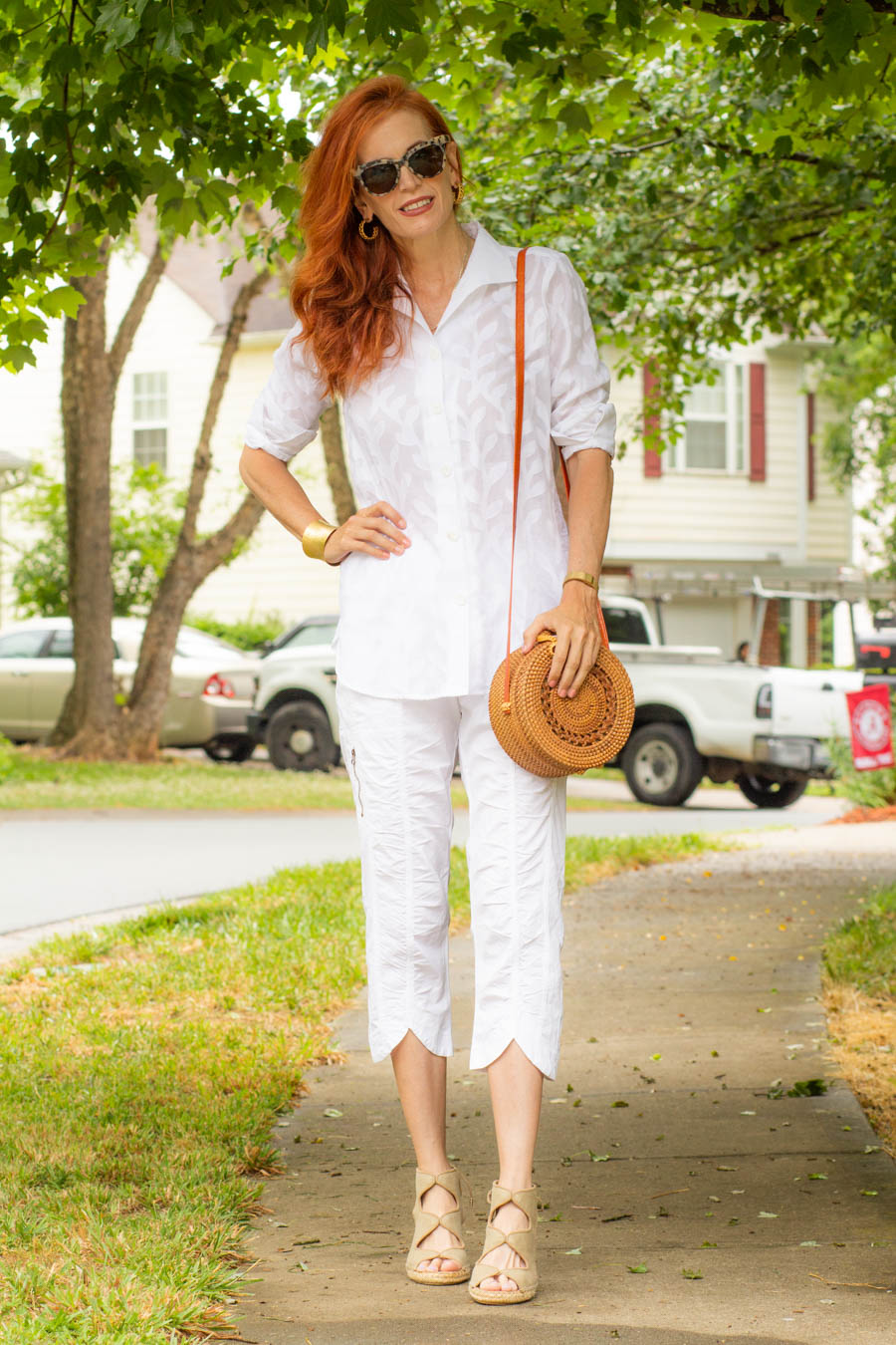 White tunic with white crops from XCVI
