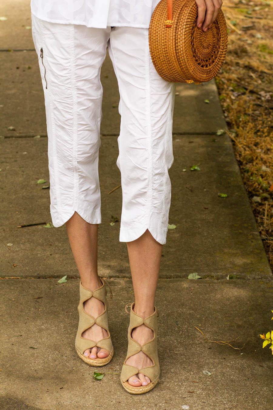 XCVI Iris cropped white pants with espadrilles