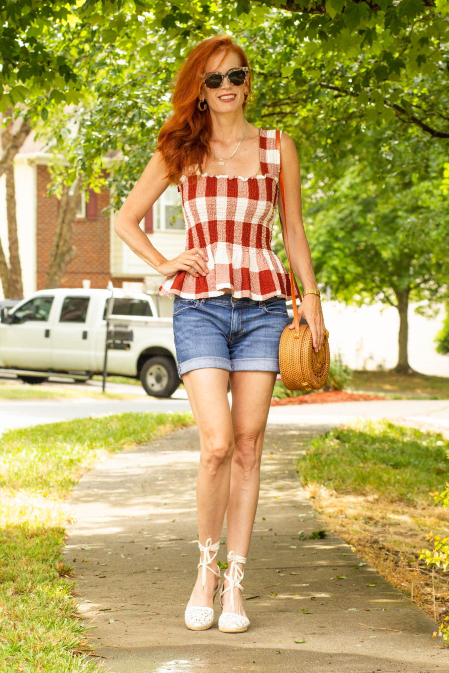 gingham top with denim shorts