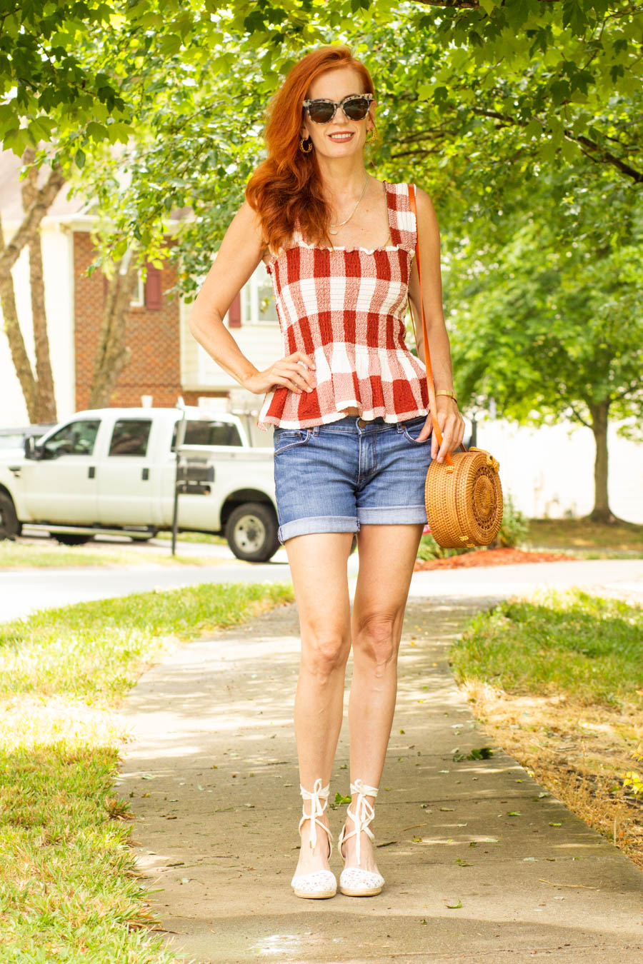 Shirred gingham top with jean shorts