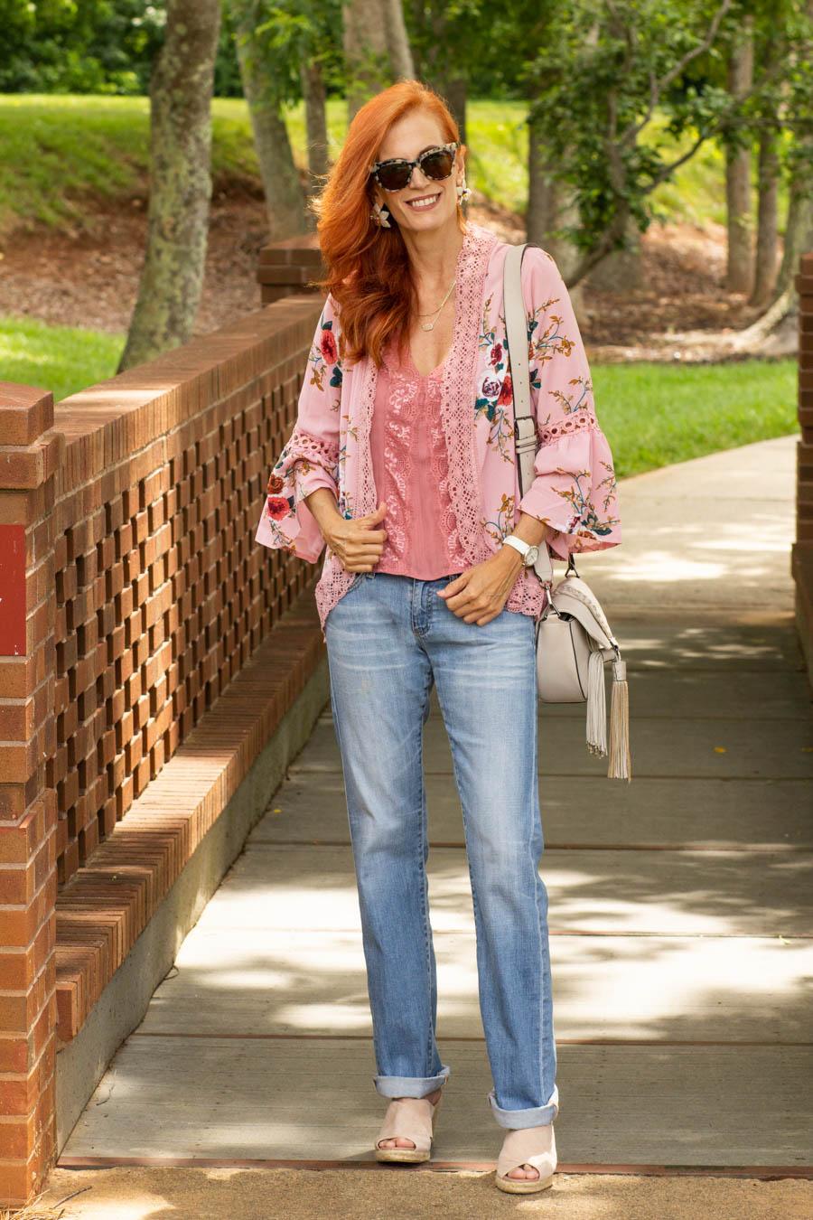 floral kimono and light denim jeans