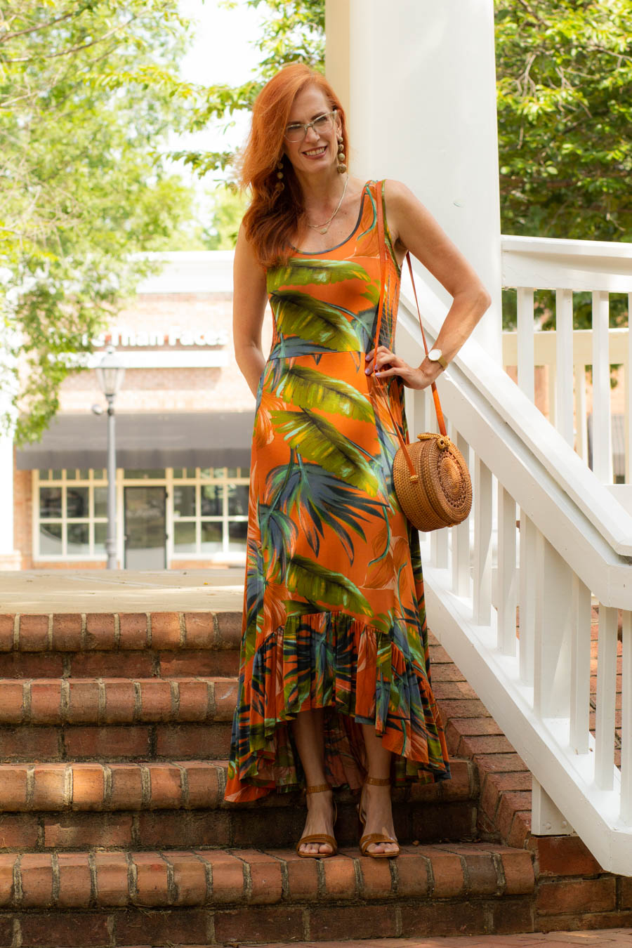 Tropical dress Soft Surroundings with brown sandals