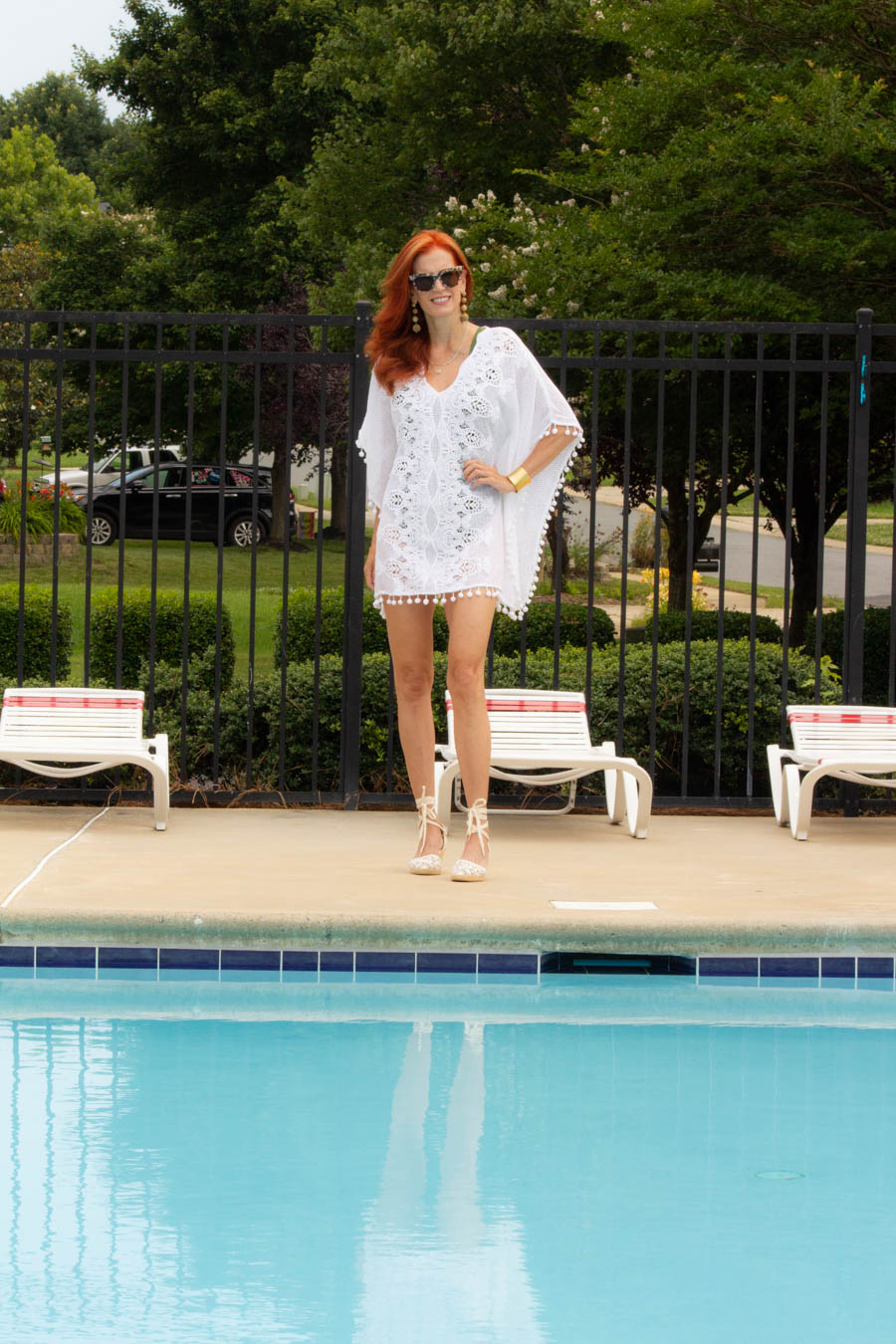 Swimspot green one piece bathing suit and crochet coverup