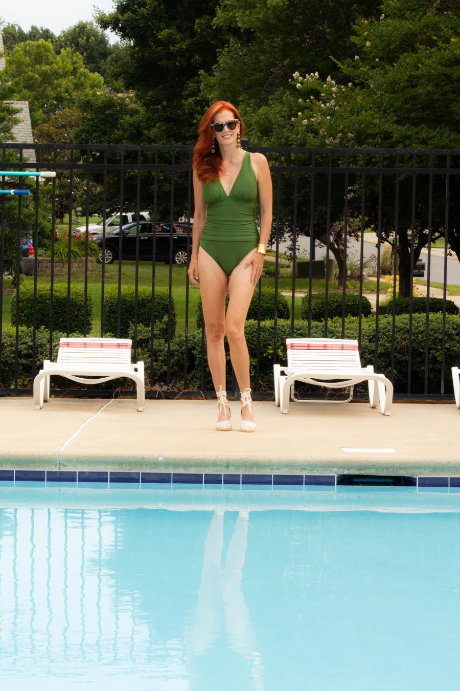 Swimspot green one piece bathing suit
