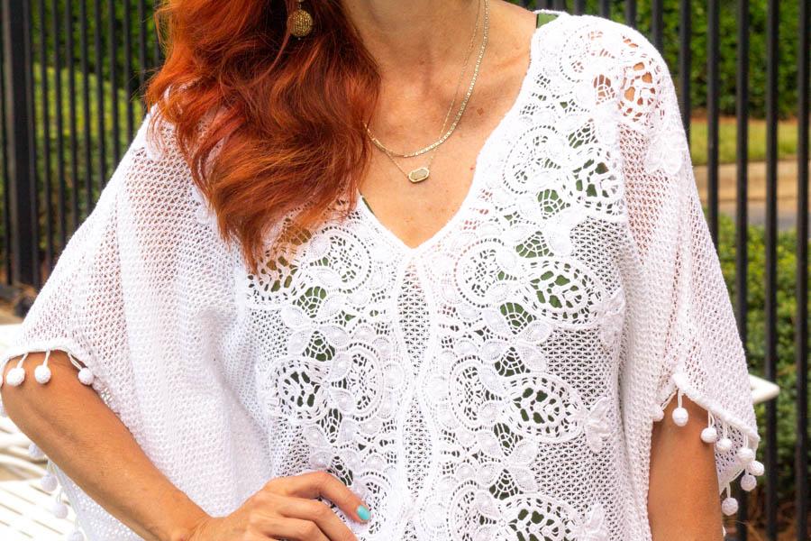 Swimspot white crochet coverup