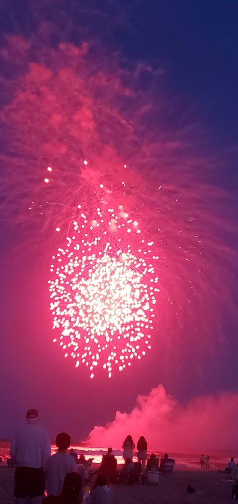 July 4th fireworks on beach