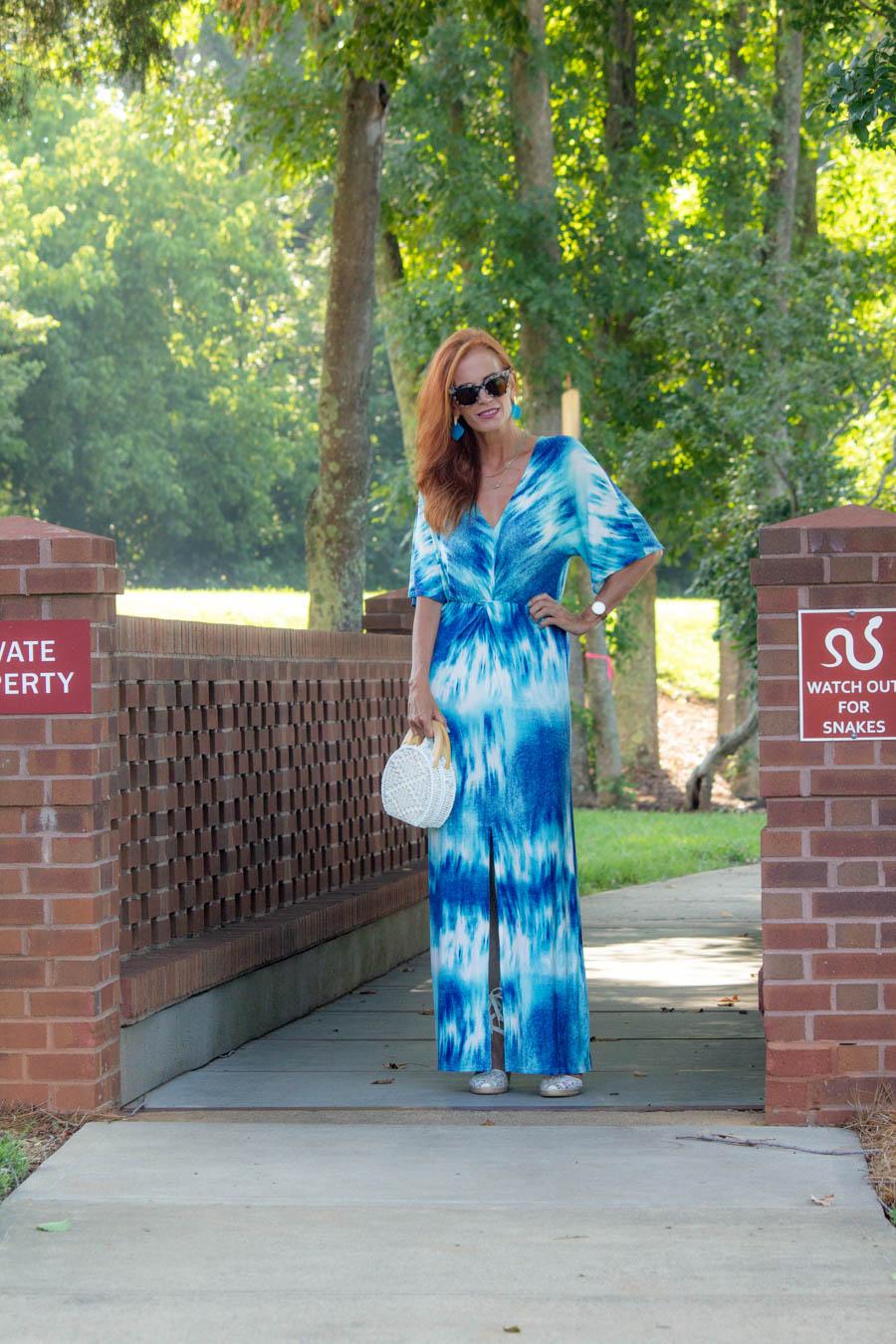 Tie Dye blue maxi dress
