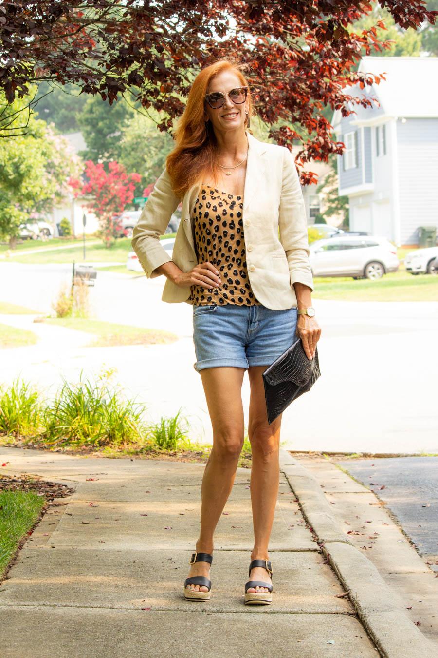 Women's linen blazer, jean shorts and leopard cami