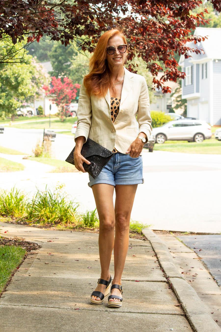 women's casual summer look wearing denim shorts