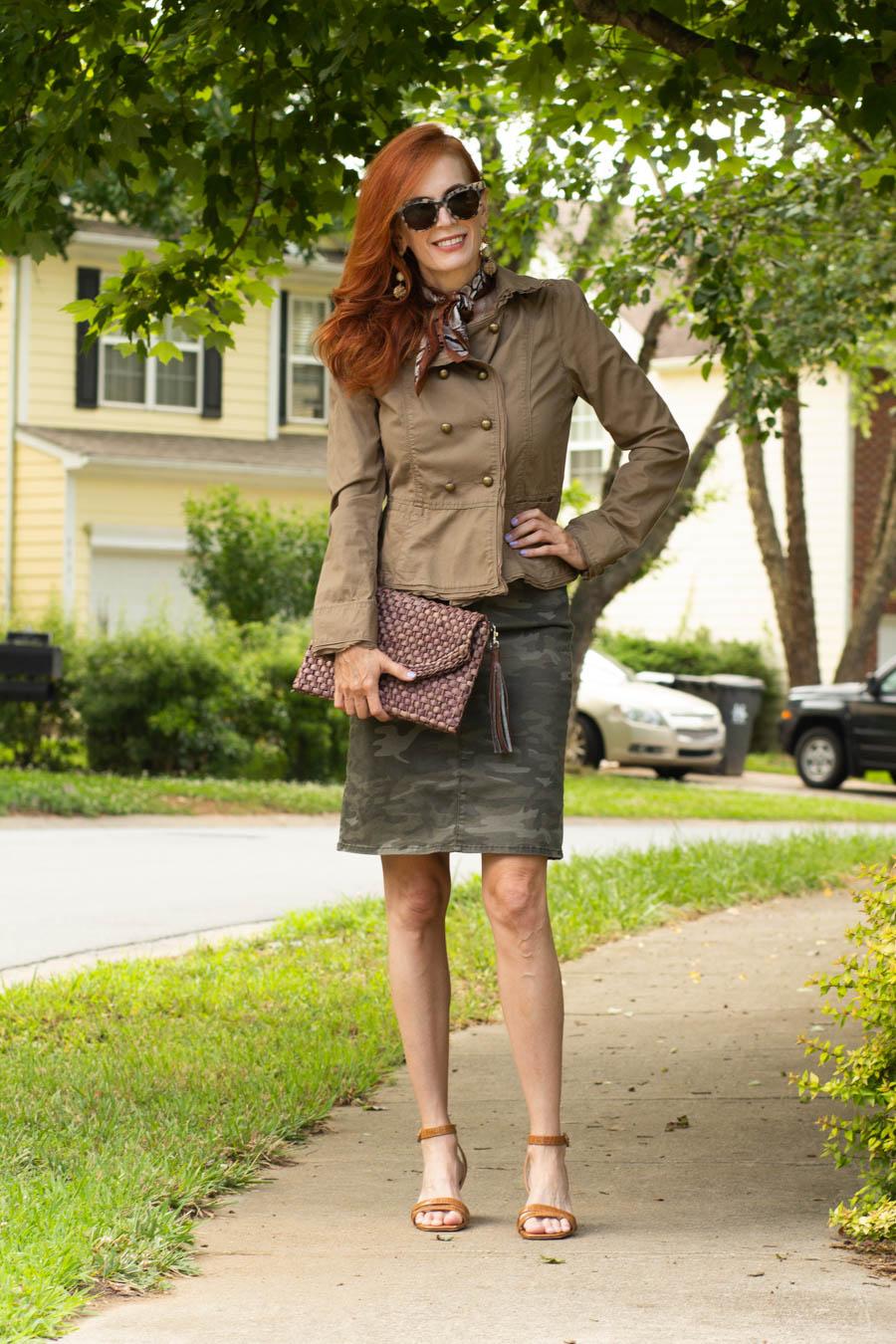 Military jacket and camo skirt