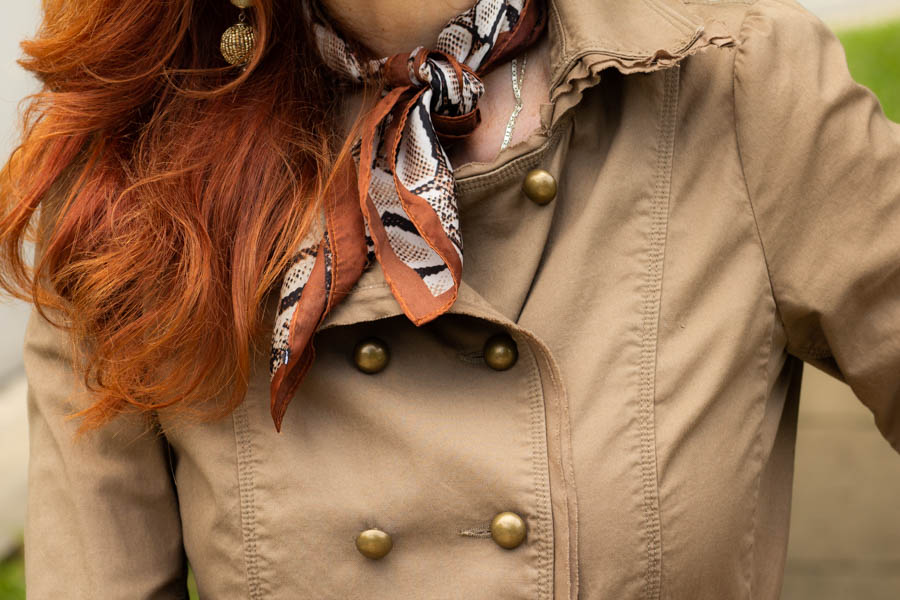 Military jacket and camo skirt and snakeskin scarf