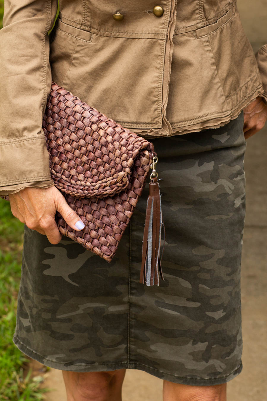 Woven clutch with camo skirt and military jacket