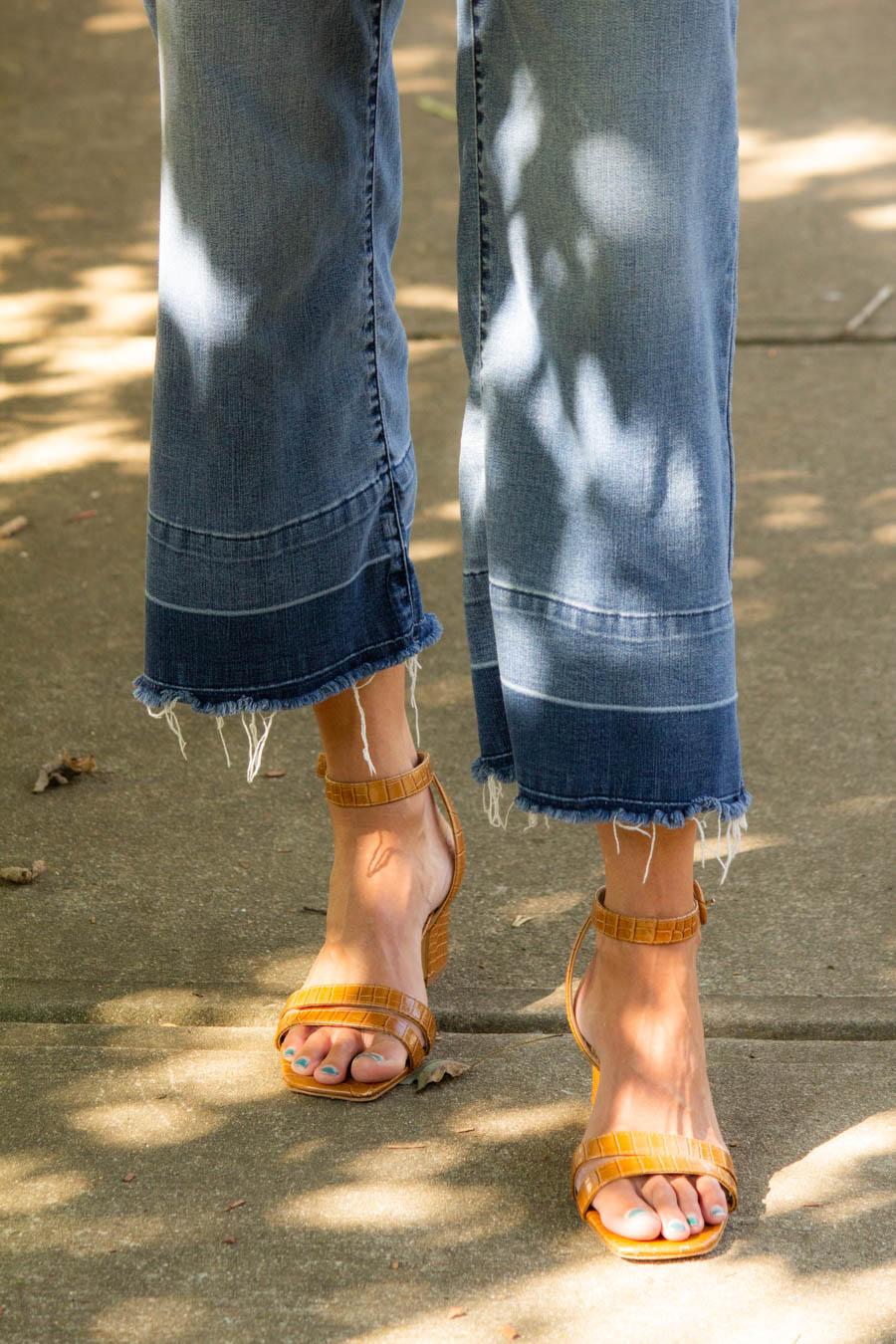 Wide leg denim with brown strappy sandals