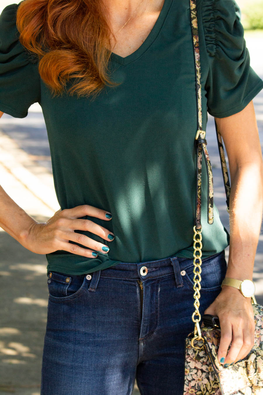 Pine green top and tapestry bag