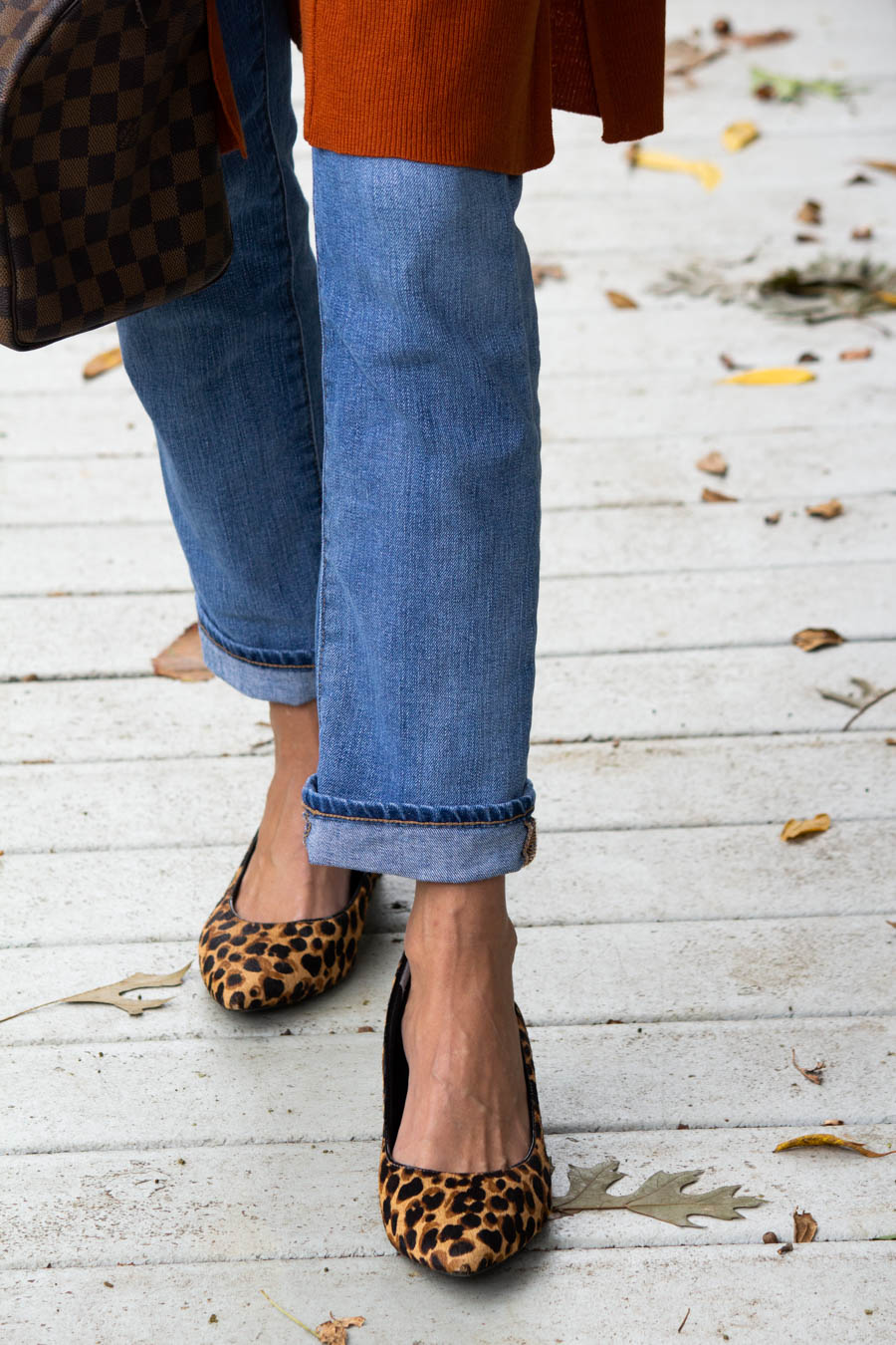 Leopard heels with jeans and pumpkin cardigan