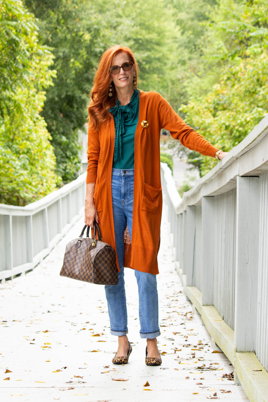 Pumpkin and teal outfit with jeans
