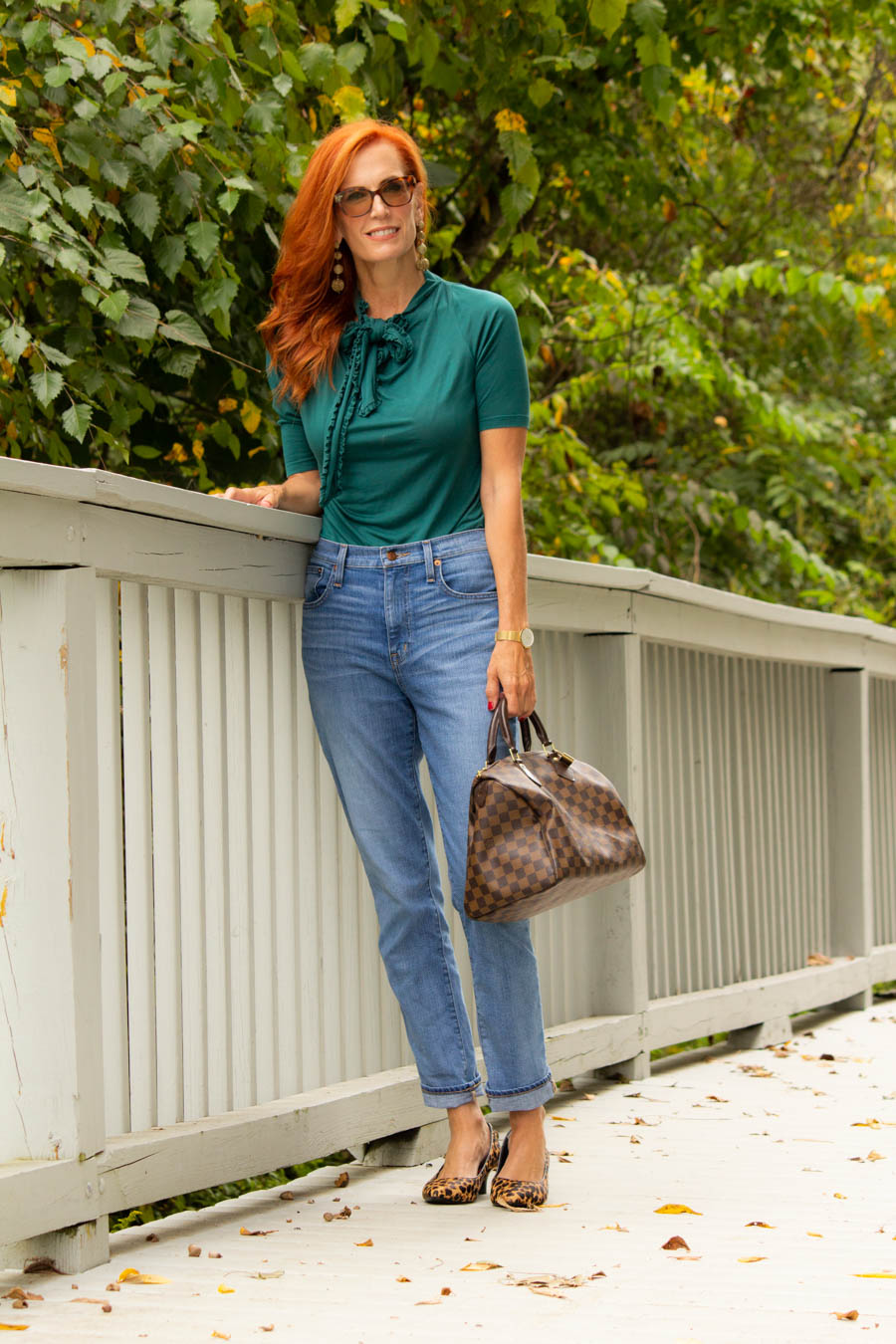 Teal blouse with boy jeans