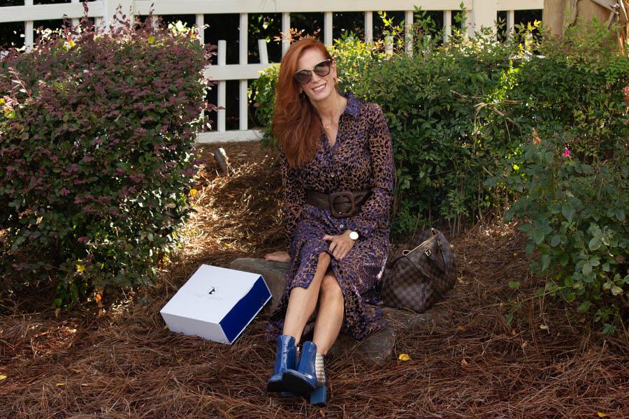 moon d'elle Luxury Italian boots with leopard dress