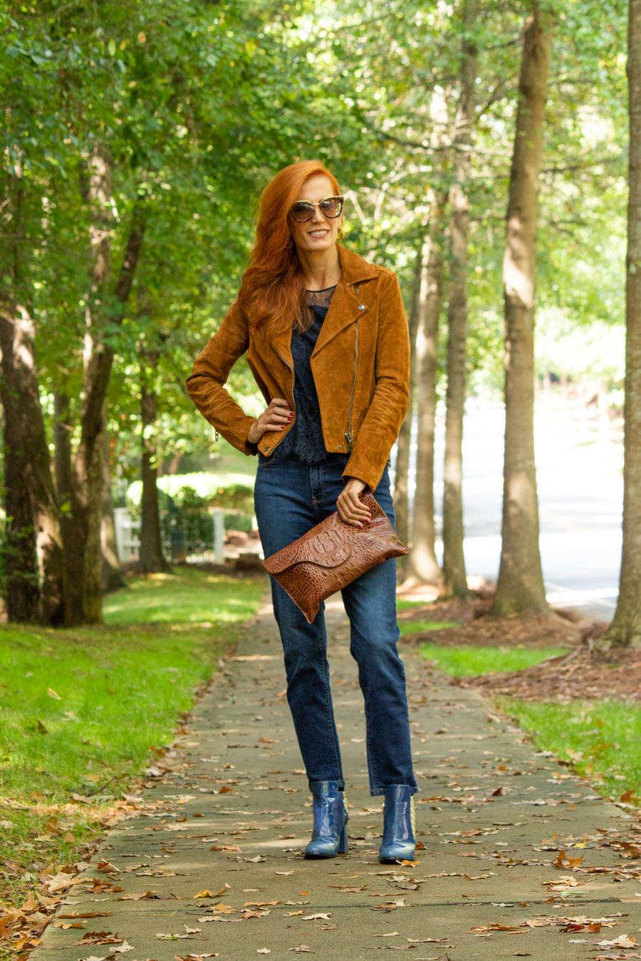 moon d'elle Luxury Italian boots styled with suede jacket and jeans