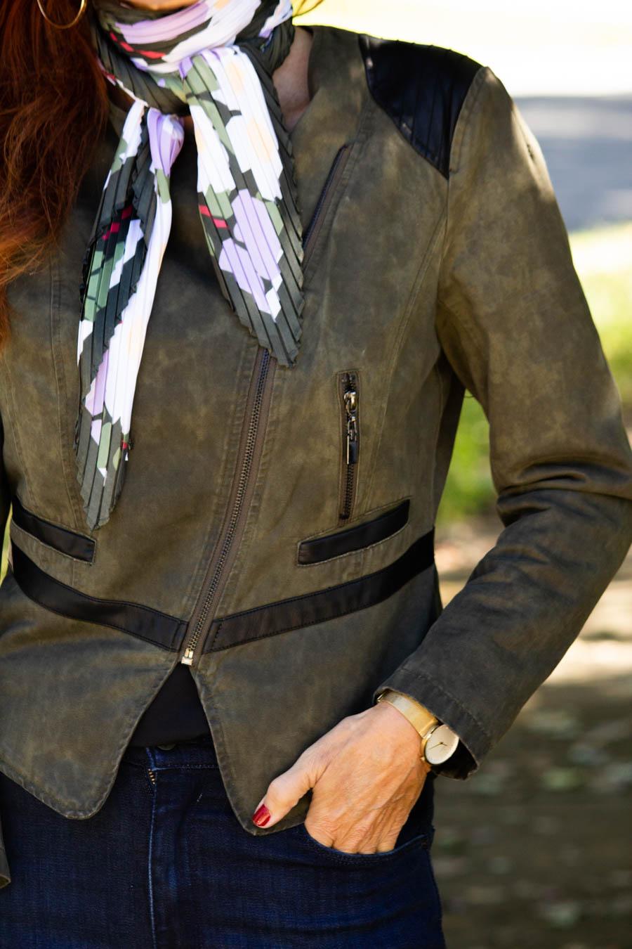 Olive moto jacket, jeans