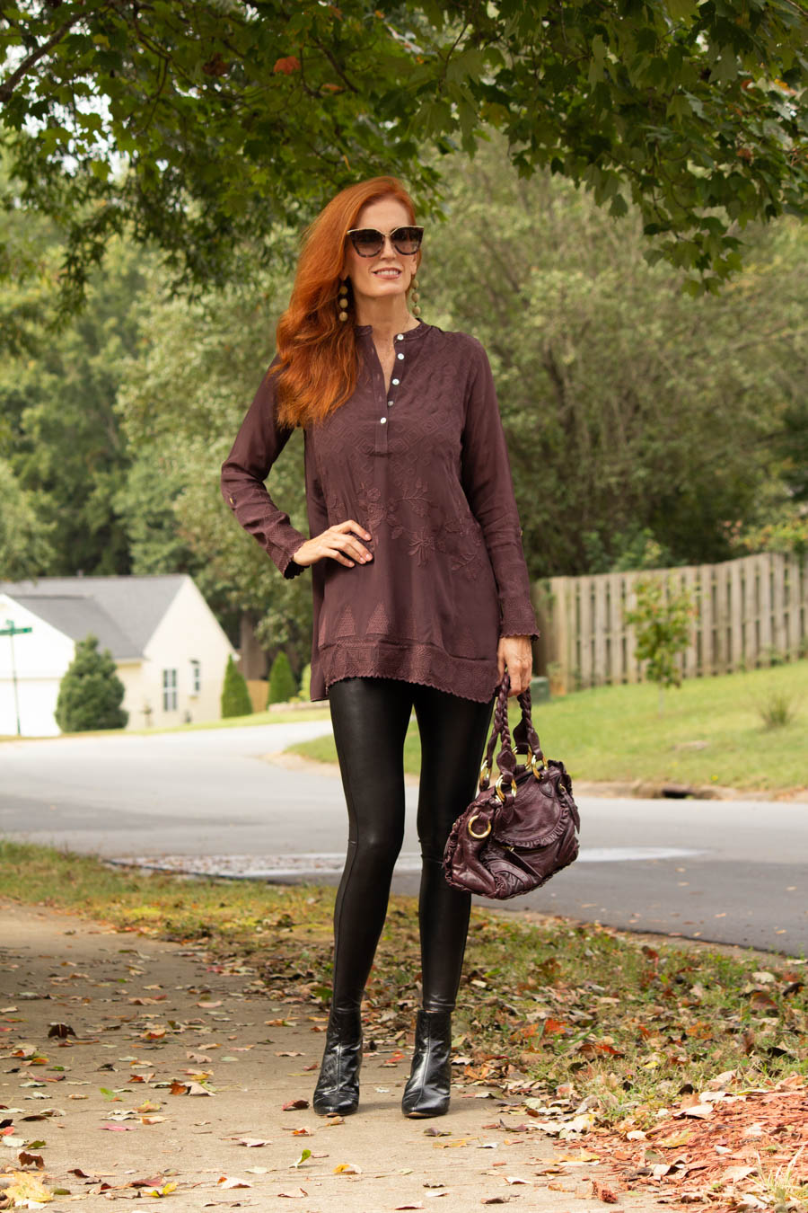 Caite and Kyla embroidered plum tunic with Spanx faux leather leggings